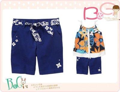 【B& G童裝】正品美國進口GYMBOREE Belted Bermuda Short綁帶藍色短褲3,4yrs