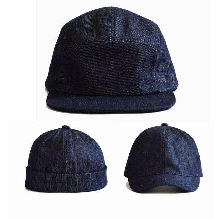 ---X10--- 限量  台灣製  超高磅數  14oz  自行打版  原色單寧  黑  五分割帽  短版老帽  水兵