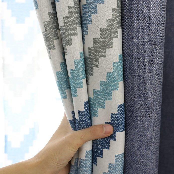 創意 居家裝飾 歐式窗簾布成品雙面拼接現代簡約遮光客廳臥室加厚新款窗紗簾奢華