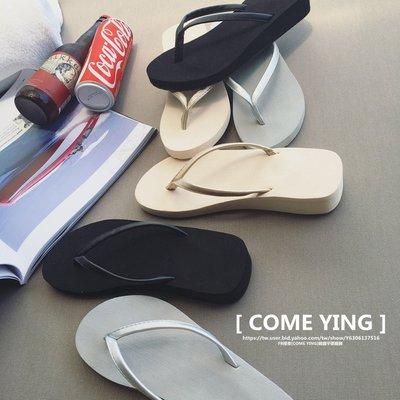 【COME YING】韓國訂單.素色簡約厚底沙灘防滑低跟涼鞋/夾腳拖鞋/沙灘拖 銀/黑 $299