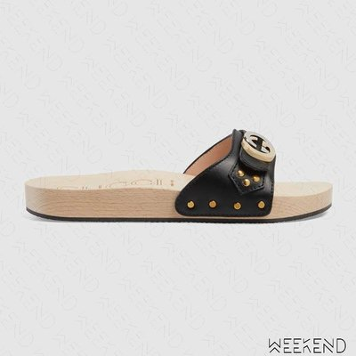 【WEEKEND】 GUCCI Interlocking G 皮革 木底 拖鞋 黑色 577639 19秋冬