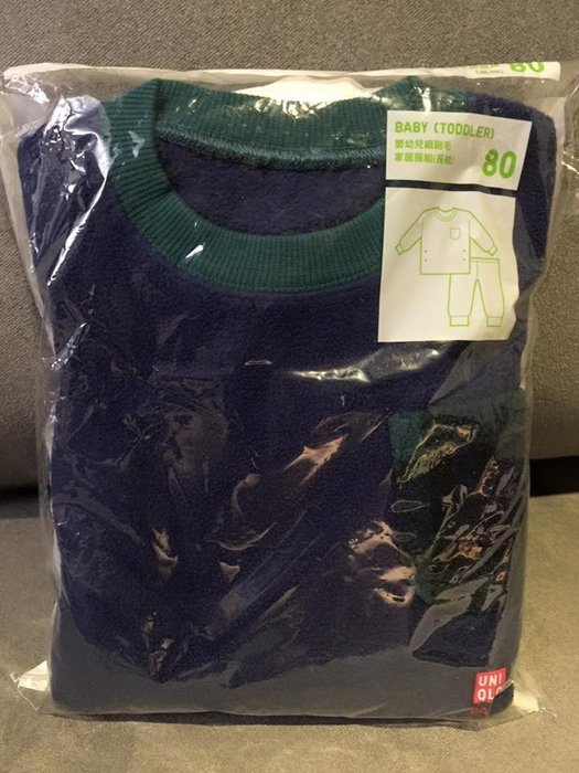 ☀APPLE SHOP☀ UNIQLO 嬰幼兒刷毛家居服套裝(綠色素面) 尺寸:80cm