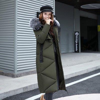 羽絨外套 連帽夾克-長款毛領修身過膝女外套4色73pa13[獨家進口][米蘭精品]