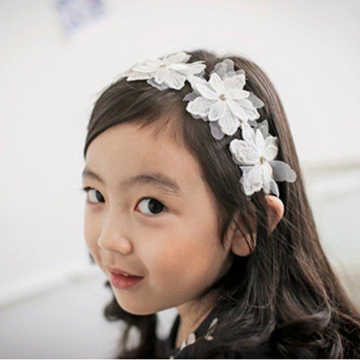 ☆草莓花園☆C186蕾絲花朵 兒童髮箍/公主.精靈.婚紗.冰雪奇緣演出髮飾