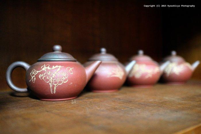 窯變 梅竹蘭菊 四君子 水平壺 標準壺 紫砂套壺 中國宜興