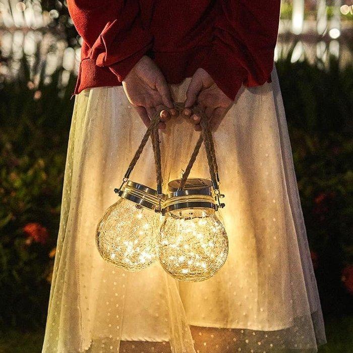 太陽能LED庭院燈 【0電費免布線】可手提可懸掛家用室外防水太陽能燈 戶外院子花園佈置陽臺玻璃裂紋裝飾路燈 創意精美禮品