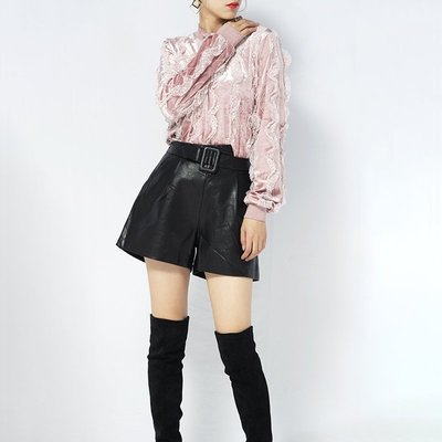 Small jie ~ 魅系列花邊領蕾絲拼接短款上衣M851809    SMLXL2XL