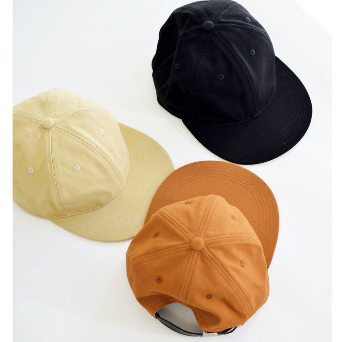 【 Wind 】台灣制 微絨 軟頂 平沿帽 六片帽 斜紋布料 大地色 牛皮革
