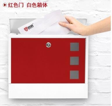 『格倫雅品』別墅信報箱室外掛牆戶外帶鎖鐵藝防銹防雨-紅色門+白底