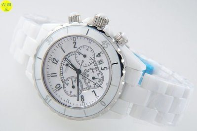 (六四三精品)威尼撕(真品)高檔高硬度白陶瓷(三眼六針)計時功能.大型4.1公分!