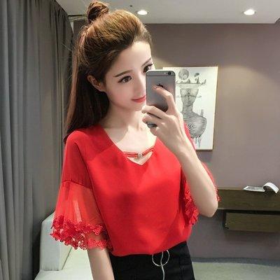 韓版V領花邊網紗拼接荷葉短袖雪紡上衣3色(S~XL)