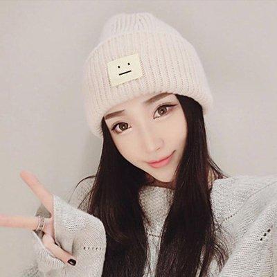 毛線帽子女冬天潮韓國可愛秋冬加厚保暖月子帽韓版笑臉學生針織帽