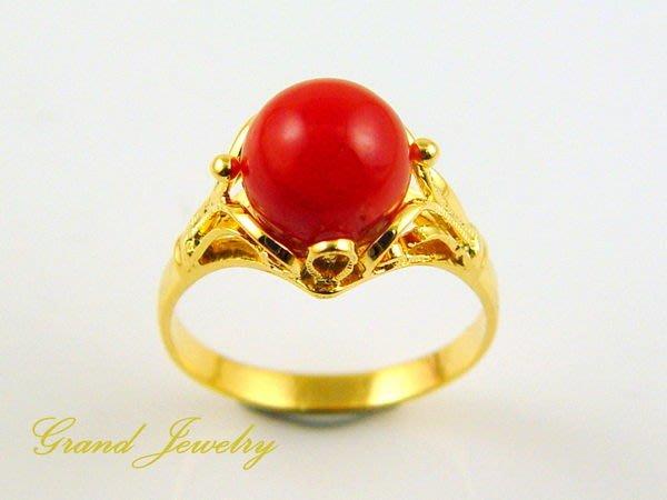 紅珊瑚 戒指 阿卡 圓珠 18K金 鑽戒 附保證書【大千珠寶】
