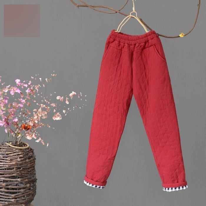 (老銀屋)冬季復古夾棉加厚保暖顯瘦休閒棉褲