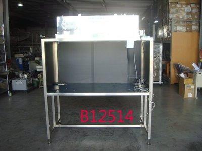 【全冠】二手專業不鏽鋼工作桌.測試桌 桌子 有燈光 插座 濾網送風機 AC110V.(B12514)
