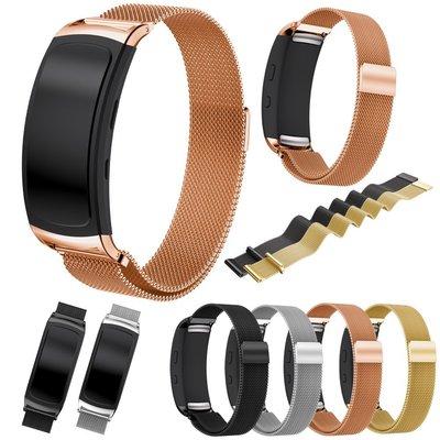 熱賣錶帶 手錶配件 適配三星galaxy gear Fit2 SM-R360-R365磁吸不銹鋼表帶通用款 凱撒小鋪