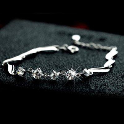 可開發票 鍍銀手鏈 可愛簡約鋯石飾品 禮物s73