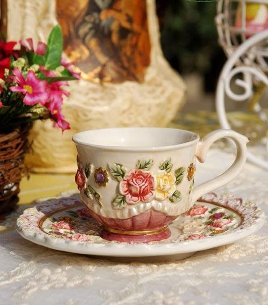 【愛麗絲生活家飾雜貨】~義大利Function Art系列~維多利亞玫瑰陶瓷咖啡杯/新居結婚擺飾送禮