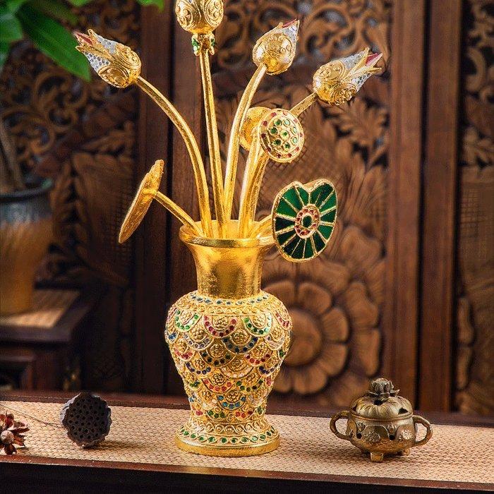 裝飾擺件 裝飾品 異麗創意花插東南亞復古實木花瓶花器客廳臥室玄關桌面裝飾品擺件