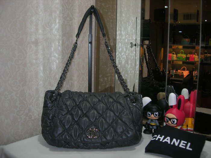 典精品 Chanel 真品 灰色 小羊皮 抓皺 菱格 COCO 胖胖包 泡泡 包  肩背包~ 現貨