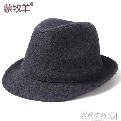 毛呢帽秋冬季中老年人禮帽男士爵士帽中年爸爸老人帽子冬天爺爺
