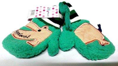 *PINK HOUSE*全新韓國winghouse正品河馬Hippo羊羔絨雙層加厚保暖掛繩兒童手套連指手套-綠色L號