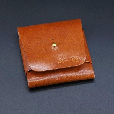 銀革手作 意大利 植鞣革 頭層牛皮 和尚扣 直身 卡片套