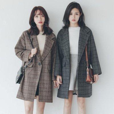 長版大衣-格子毛呢外套女冬學生森系中長款韓版新款秋寬松加厚呢子大衣