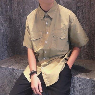 韓版 反車白線 工裝 短袖 襯衫 TS5152