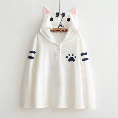 ☆紫米粒小舖☆【R13773】連帽 日系森女系可愛貓咪印圖連帽長袖T恤。