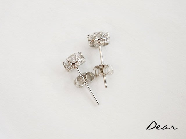 ◎【 Dear Jewelry 】◎ K金耳環 皇冠單鑽耳環 奈用不褪色 不過敏 高質感 適合天天戴 ----免運