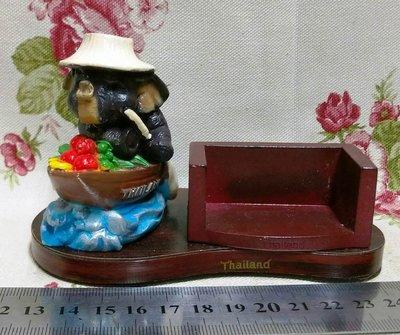 龍廬-自藏出清~彩繪波麗冷瓷製品-Thailand泰國大象坐船造型筆座兼名片座/只有一個/送人紀念收藏