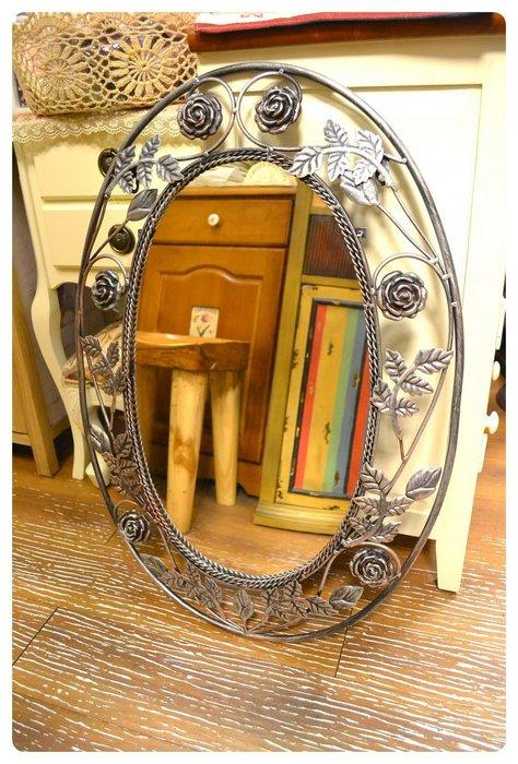 鏡子 立體鐵製玫瑰橢圓壁鏡 玄關鏡廁所鏡化妝鏡服飾店穿衣鏡連身鏡立鏡美容飾品店裝飾陳列【【歐舍家飾】】