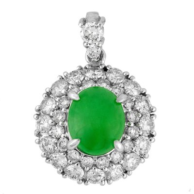 【JHT金宏總珠寶/GIA鑽石專賣】2.95克拉天然A貨翡翠鑽墜/材質:PT900(JB29-C17)