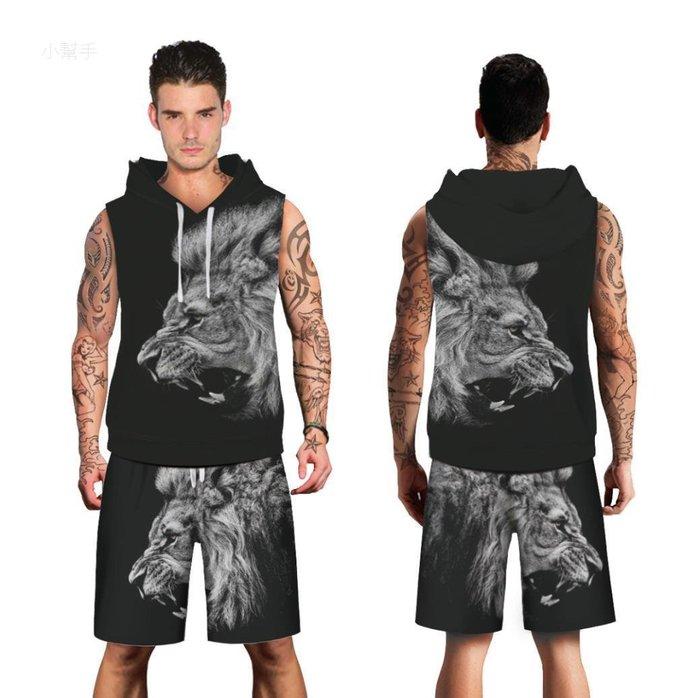 時尚潮牌獅子數碼印花連帽無袖大碼男款運動衫套裝#優品小鋪#