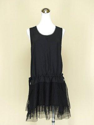 ◄貞新二手衣►bettys 貝蒂思 黑色蕾絲圓領無袖緞面網紗洋裝M號(59610) 新北市