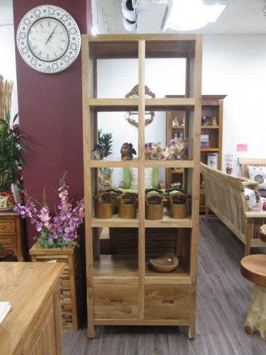 【肯萊柚木傢俱館】100%老柚木無上漆全實木 手工製作 雙面櫃 書櫃 展示櫃 限量商品
