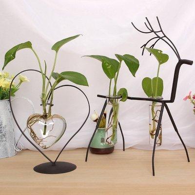 【阿忿貓的北歐咖啡館】 歐式小清新綠蘿水培植物玻璃瓶鐵藝擺件花瓶插花容器裝飾花器