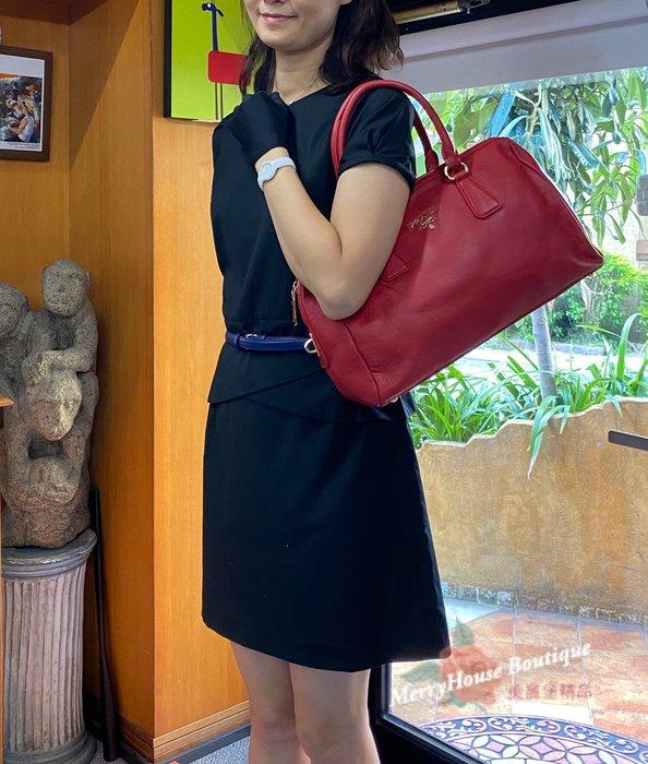 美麗堡OUTLET精品 ☆PRADA BL0787 皮革 鎖頭 波斯頓包 手提包 紅色 【現貨】