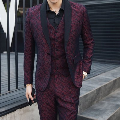 【MOZ潮流男装】男士三件套西服套裝演出服潮流韓版修身帥氣夜店西裝外套結婚禮服