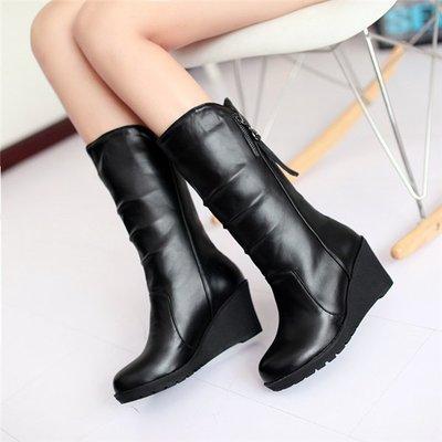 ~Linda~單靴子女春秋新款中靴歐美潮女靴高跟坡跟圓頭中筒靴雪地靴保暖冬