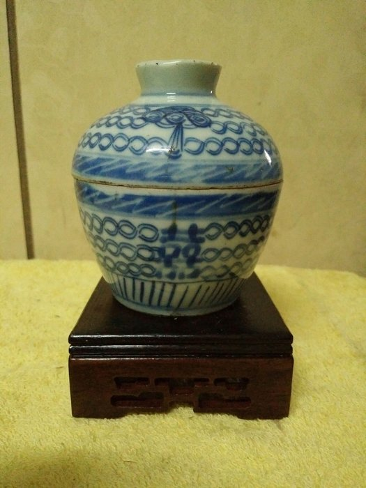 拼人氣,早期收藏,明清陶器,清中期青花瓷,雙囍纏枝花蓋碗,完整件,高約9公分,寬約8公分