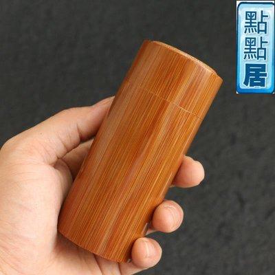 【點點居】手工雕刻蘇工老玉竹精工拔口鑲嵌茶葉罐茶倉文玩把件把玩竹制茶具竹雕竹製品DD01525