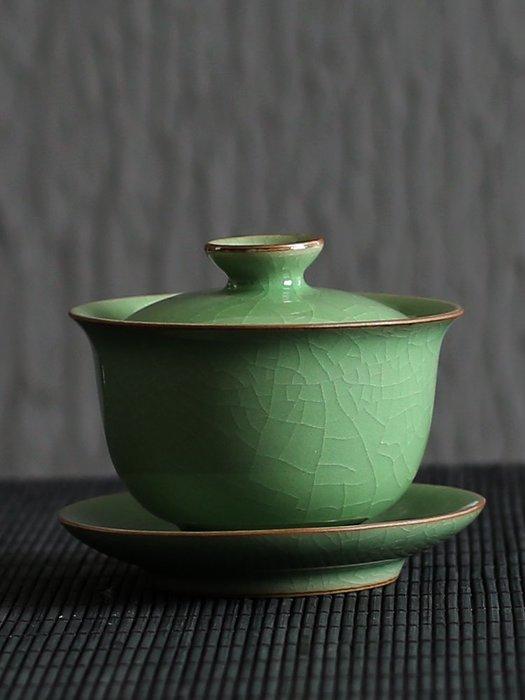 港灣之星-茶杯龍泉青瓷復古泡茶蓋碗套裝茶碗茶具手抓家用功夫手工三才蓋碗(規格不同價格不同)
