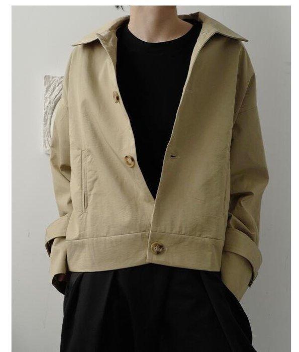 FINDSENSE X  男士 長袖寬松 休閑 簡闊型寬松落肩顯高氣質短款夾克