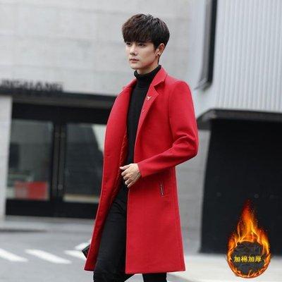 風衣男韓版中長款修身青少年加厚帥氣毛呢大衣男士大碼外套披風潮