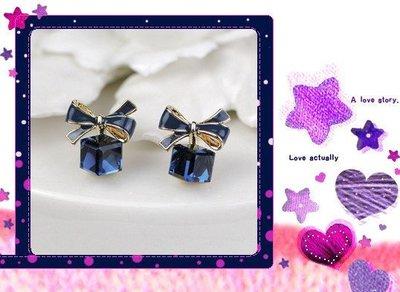 熱賣批發館 E-075 新款蝴蝶結立體水晶石耳釘 可愛甜美百搭款耳飾