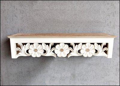 南法鄉村風 白色雙色雕花刷舊層板架 木...
