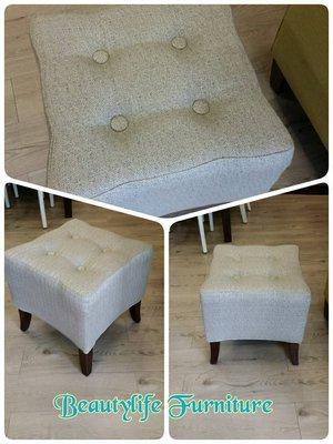 美生活館 --- 歐式古典風格灰禔花布拉扣方型沙發凳/腳凳/化妝凳--限量優惠 2280 元