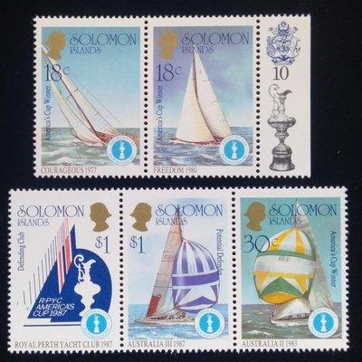 所羅門群島Solomon Islands郵票帆船郵票(Sailboat)1987年發行#36010全新特價